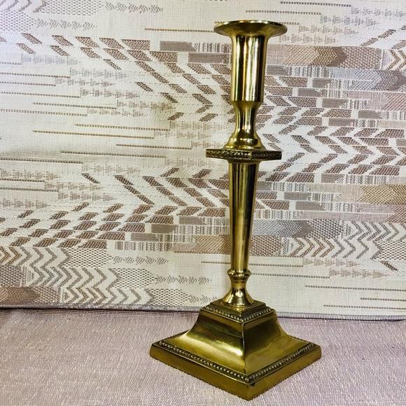 Vintage Heavy Brass Candlestick from Korea